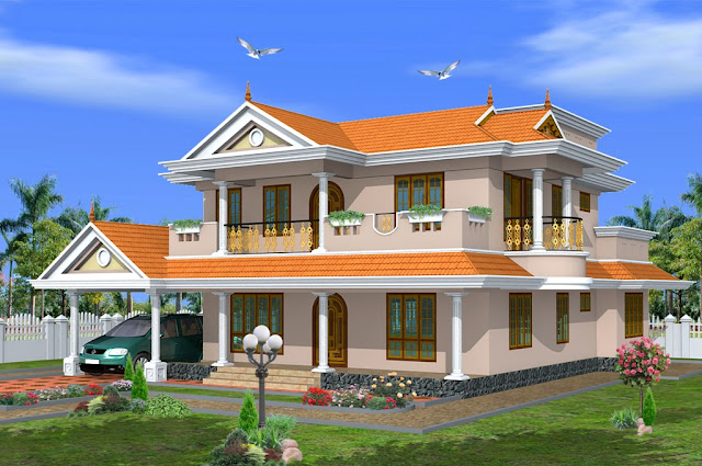 Sqft traditional kerala style 4 bedroom house design from for 4 bedroom house plans kerala style architect