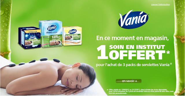 Vania vous offre gratuitement un soin en institut pour l'achat de 3 packs serviettes Vania bon plan beaute soin gratuit