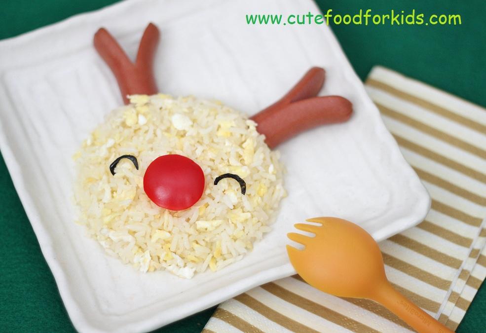 Cute food for kids easy christmas lunch idea rice reindeer - Repas de noel enfant ...
