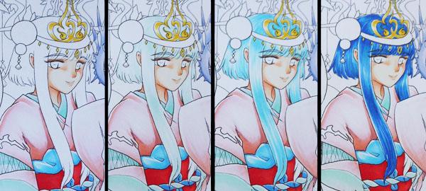 step by step colorisation de cheveux bleus aux feutres à l'alcool