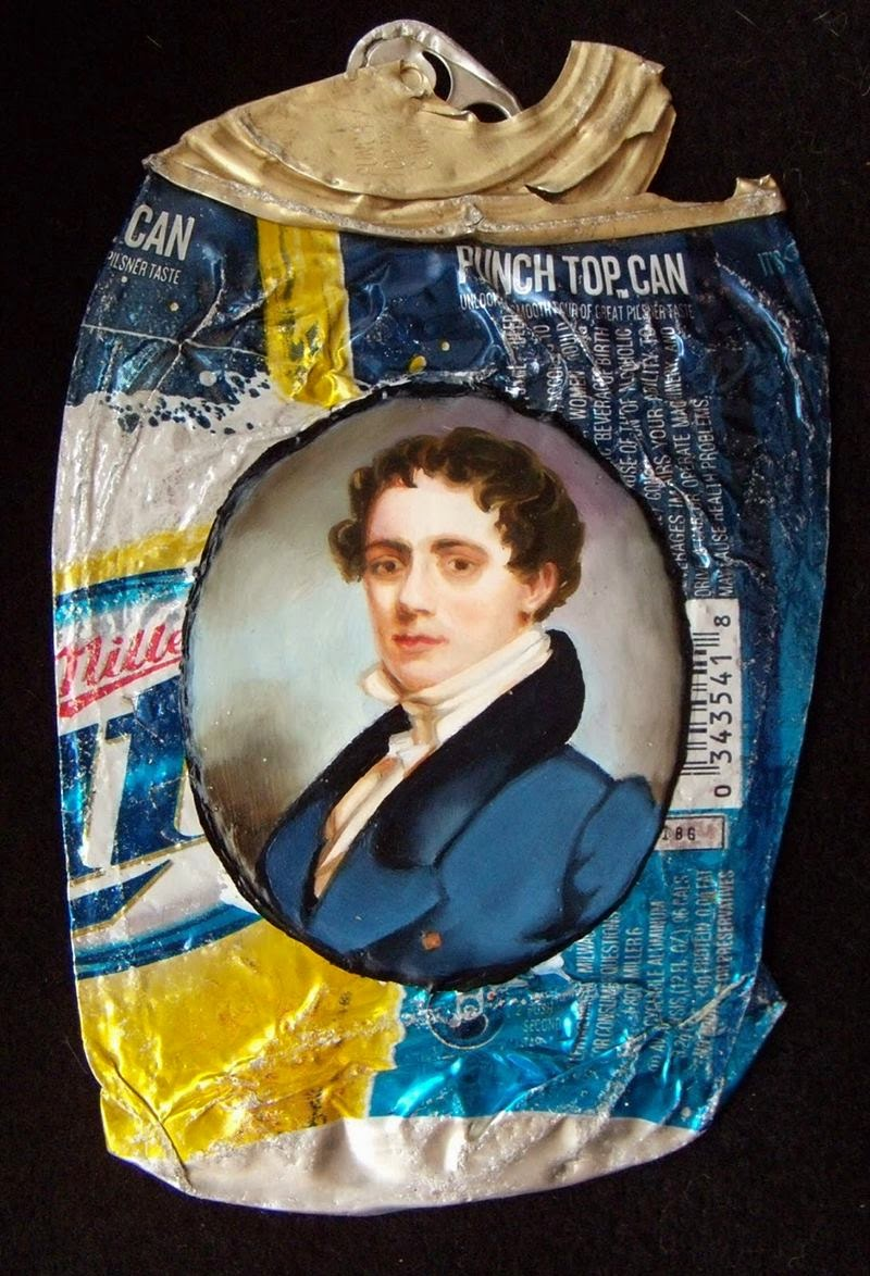 "A amazing series of American artist Kim Alsbrooks, based in Philadelphia, who uses crushed cans of beer or soda for creating portraits of historical figures found in museums. Kim's inspiration to create this series is that it causes frustration that some ideologies as classism are maintained,these paintings are part of ""My white trash family""."