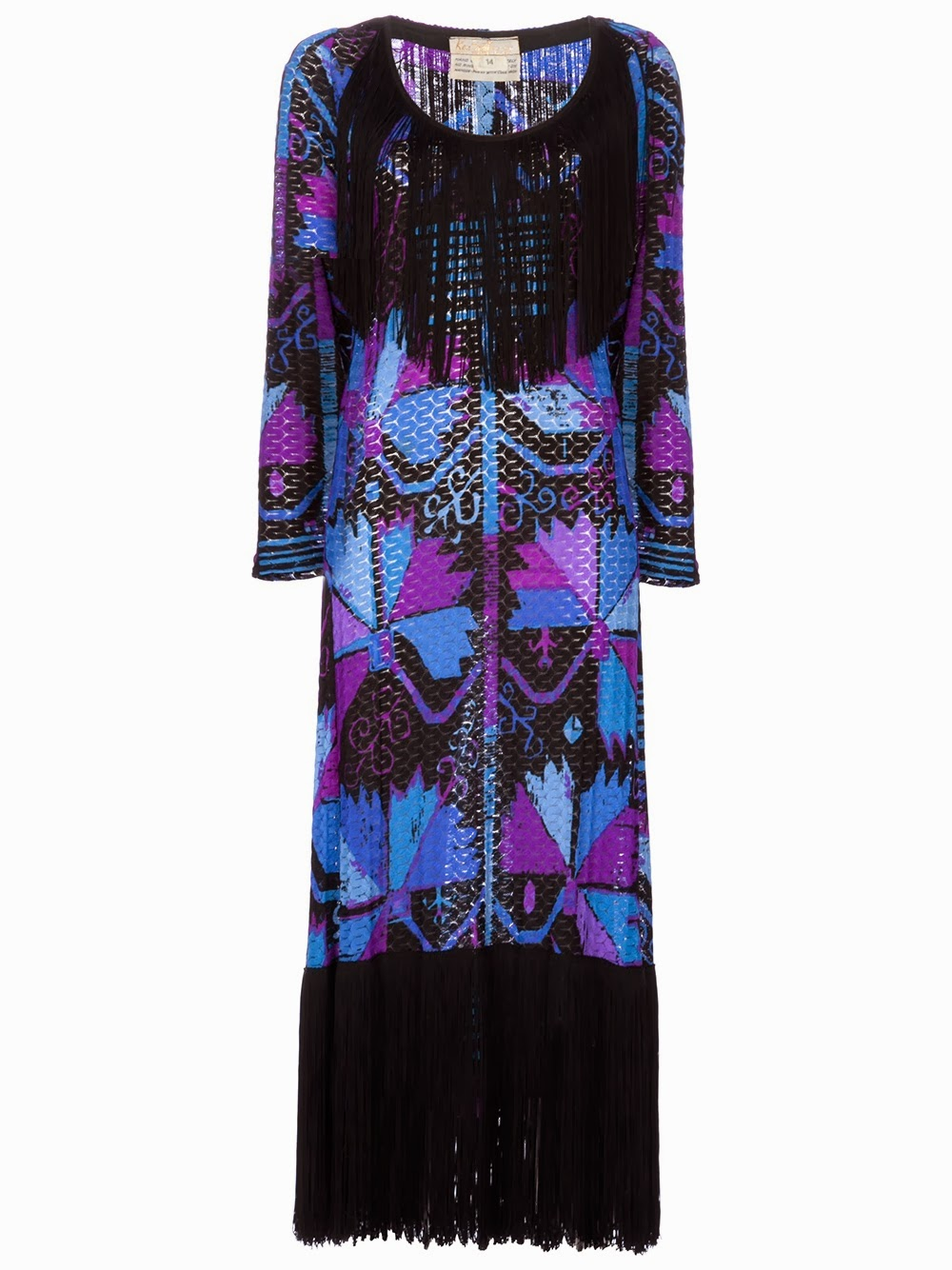 long multimulti  coloured dress with heavy black fringing on the bodice and hem