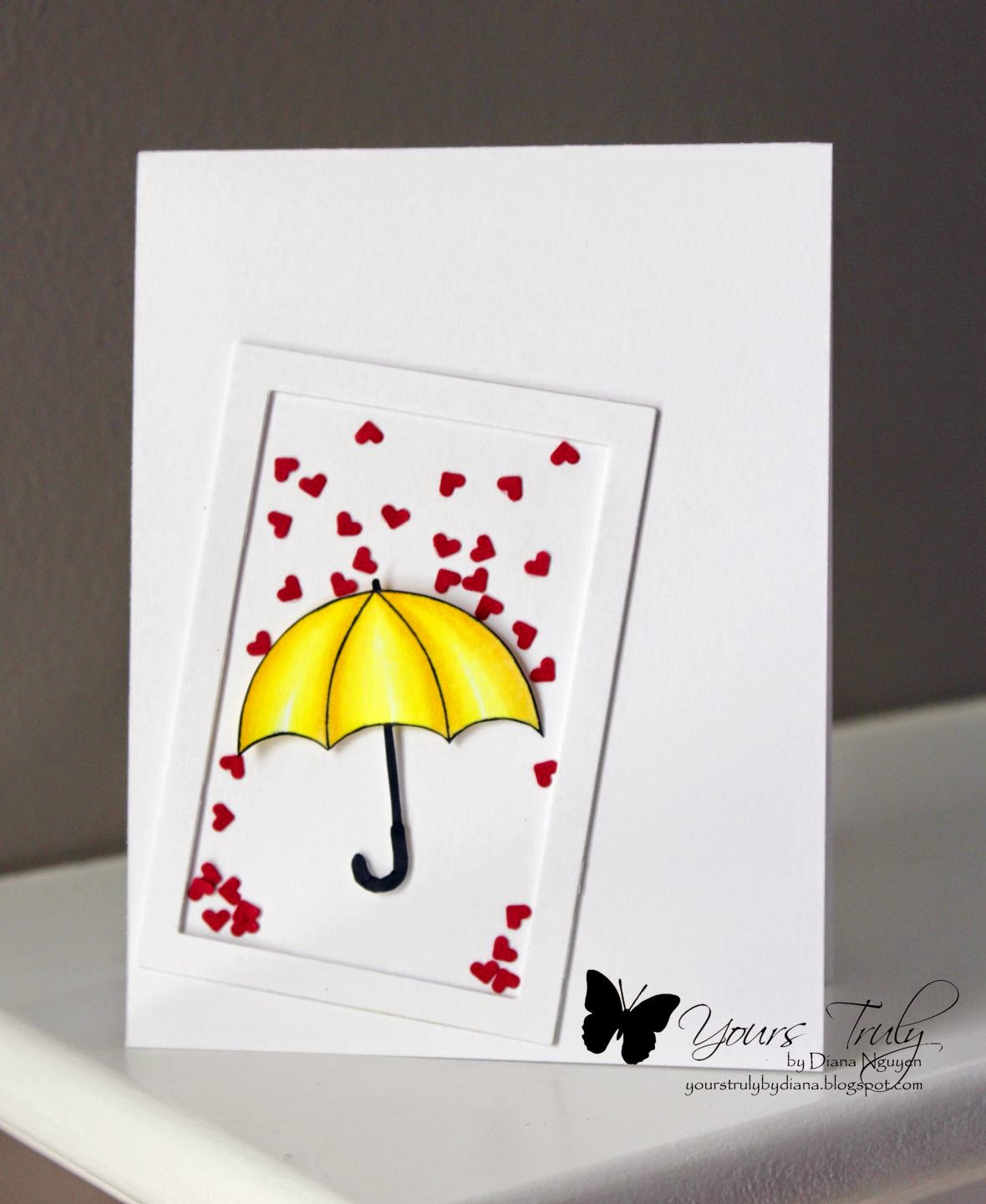 Diana Nguyen, umbrella, hearts, card