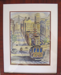 Water color of California Street Cable Car