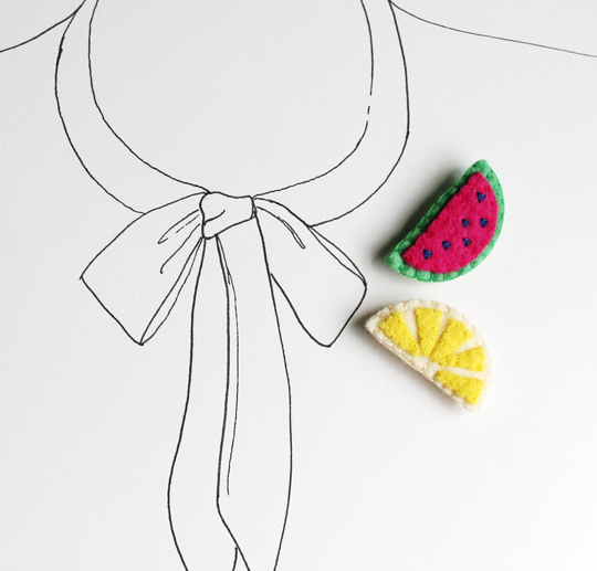 Watermelon felt brooch and Lemon felt brooch by My Hideaway on Etsy