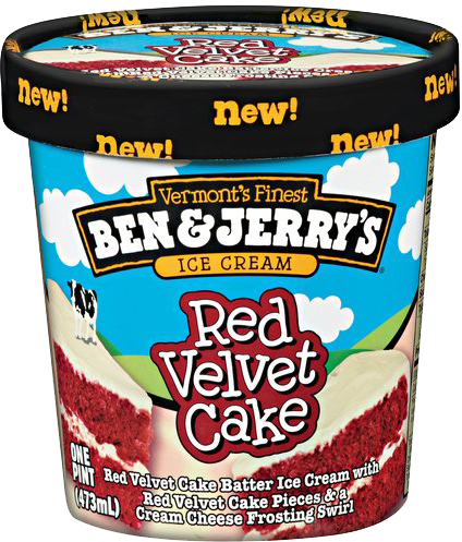 Ben & Jerry's Red Velvet Cake container.