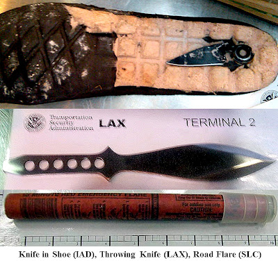 Knife in Shoe (IAD), Throwing Knife (LAX), and Road Flare (SLC)