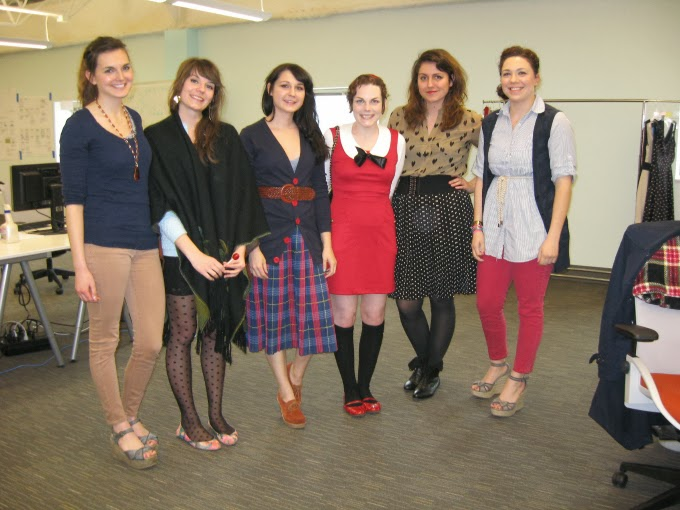 ModStylists, Modcloth offices, headquarters, in person, Amy, Chelsea, Nicole, Mandy, Jess, Jessica, meeting, Suzanne Amlin, A Coin For the Well, red dress, Books You've Red Dress, peter pan collar, Luminia, Etsy, red mary janes