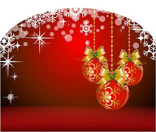 華やかなクリスマス・ベルとハンギング ボールの背景 christmas tree decorations background イラスト素材2