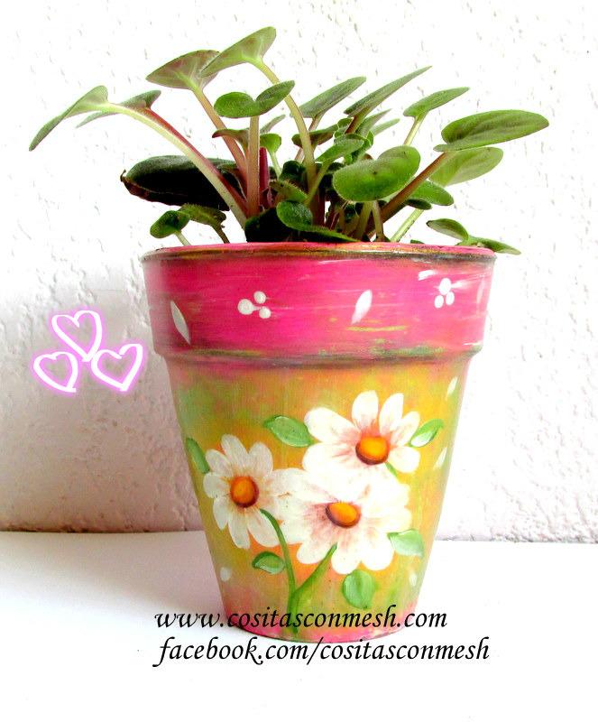 flores pintadas en macetas paso a paso ~ cositasconmesh