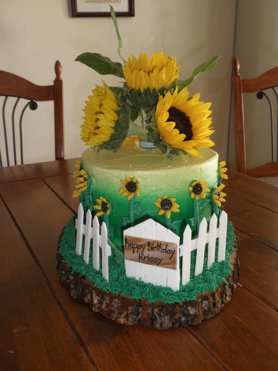 The fence and the gate sign were also made out of fondant. The grass ...