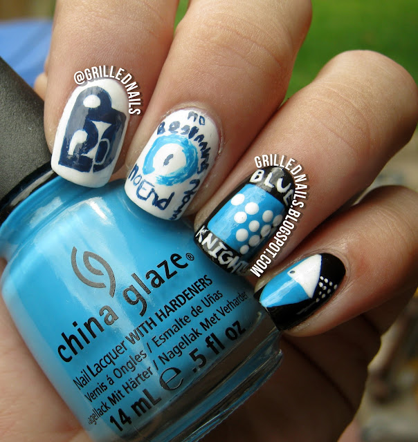 grilled nails grillednails hector alfaro blue knights 2013 no beginning no end show drum corps international black white china glaze gay blog color guard pit percussion nail art manicure mani