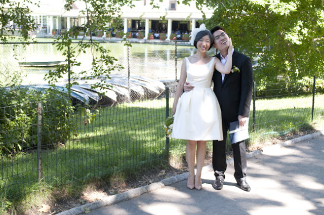 Couple at Boathouse in Central Park after Central Park Wedding
