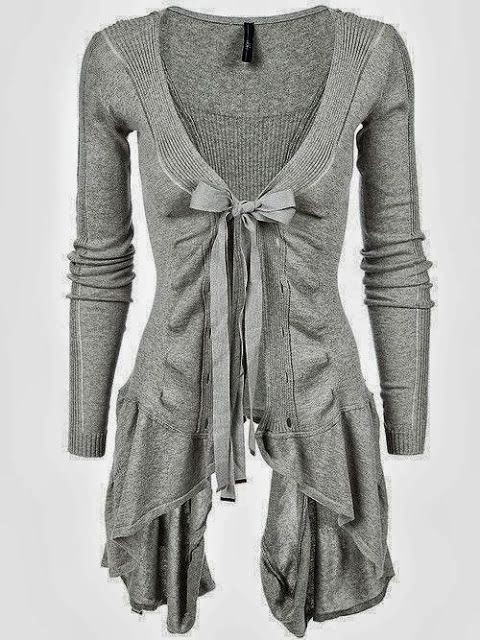 Long Light Grey Cardigan Sweater