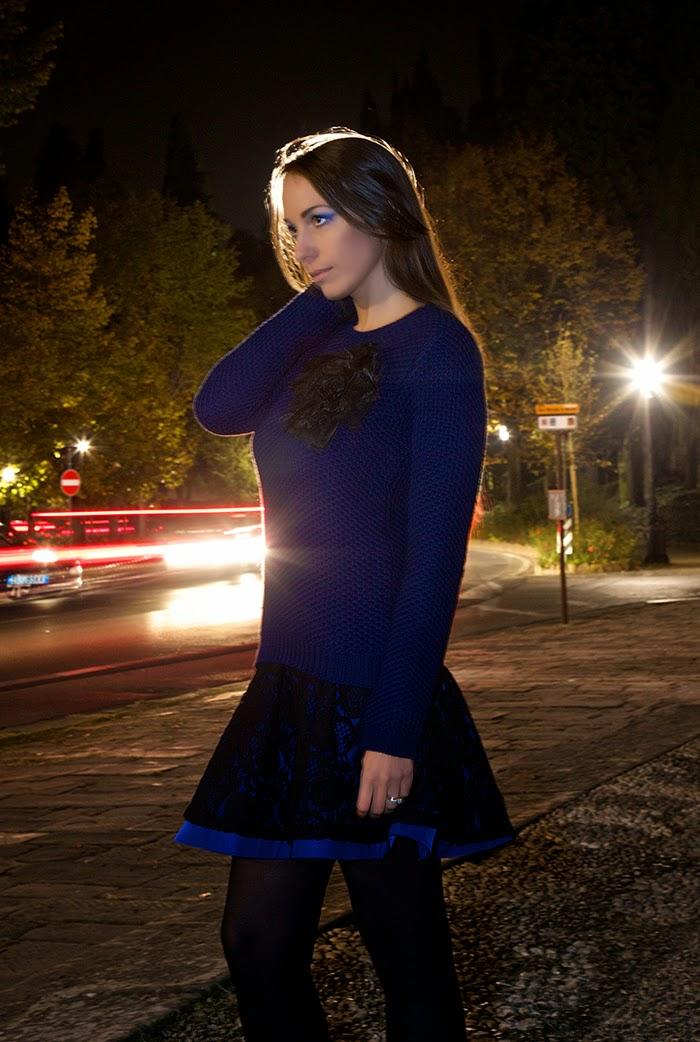 maglione blu cobalto