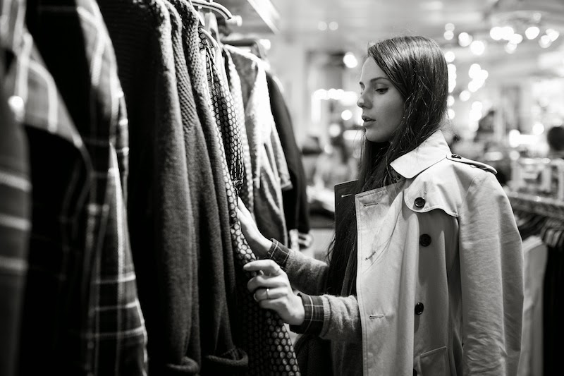 looking through racks vintage shopping moscow