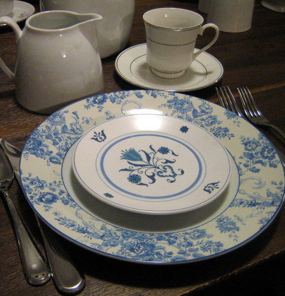 Look at this cute blue and white china with a floral pattern.