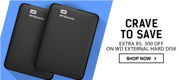 Flipkart : Extra Rs 300 off on WD External Hard disk