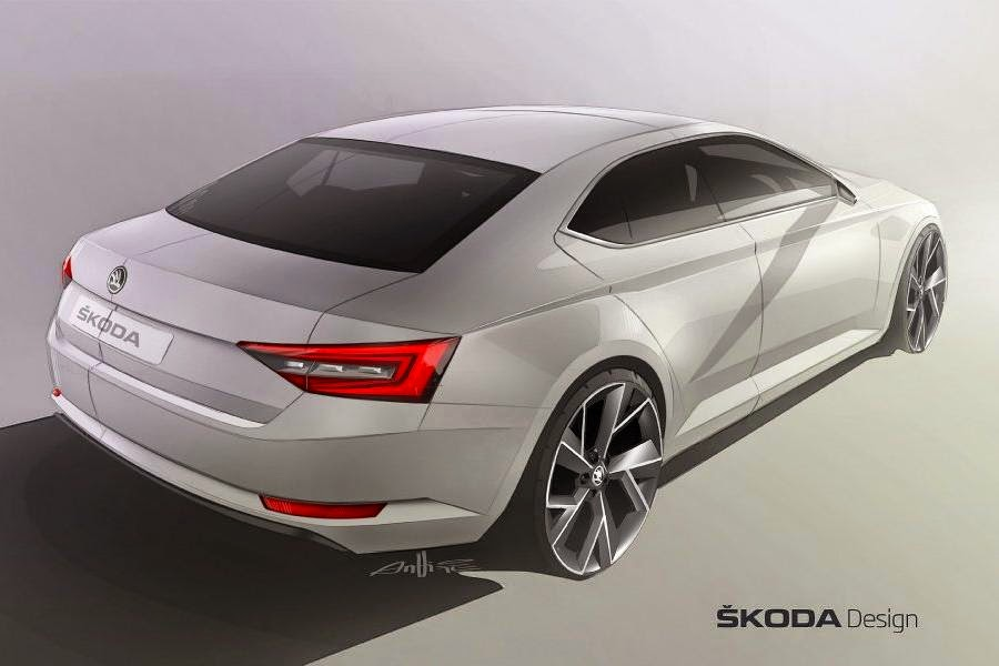 Skoda Superb Hatchback (2016 Rendering) Rear Side