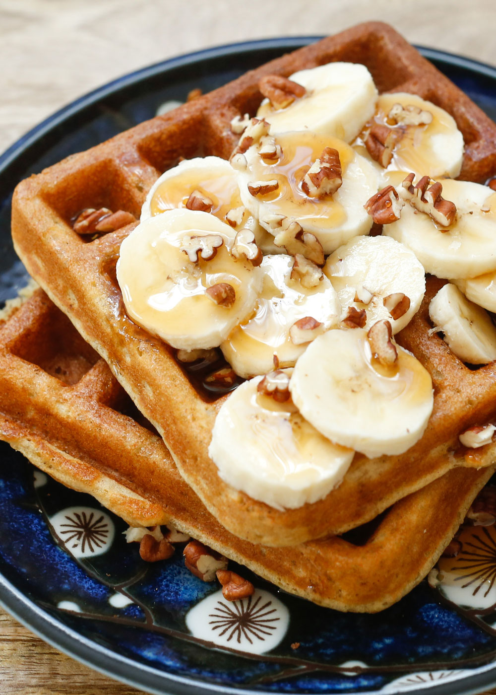 Banana Waffles are crisp, light, and fluffy! (traditional and gluten free recipes included) - by barefeetinthekitchen.com