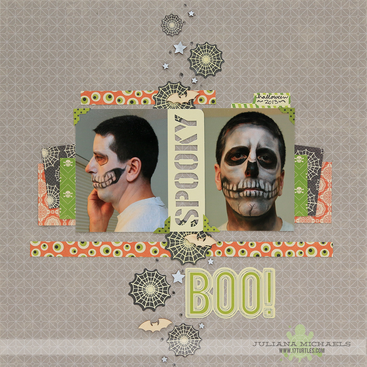 Spooky Boo Halloween Scrapbook Page by Juliana Michaels featuring Jillibean Soup