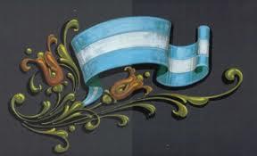 'Fileteado sobre nuestra insignia nacional'. Bello trabajo de autor desconocido
