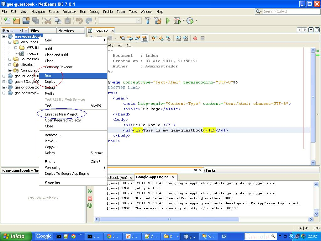 Integracion google working gae java projects on netbeans ide 6 ejecutandi nuestro proyecto baditri Choice Image