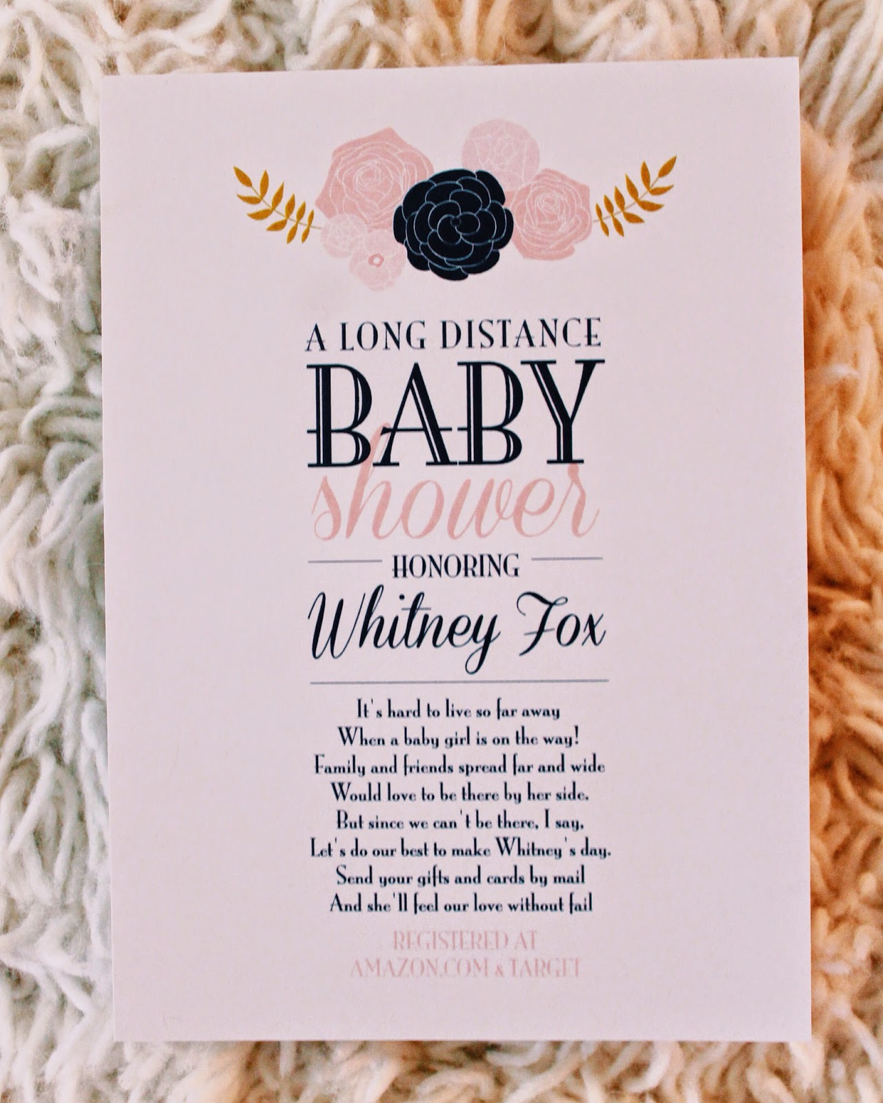 life as a fox long distance baby shower, Baby shower invitations