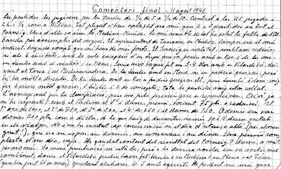 Comentarios manuscritos por Vicenç Vallés sobre el IV Torneo Internacional de Ajedrez de Sabadell 1945