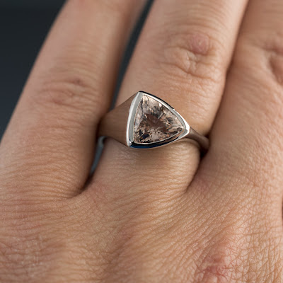 Trillion Morganite Palladium Ring on hand