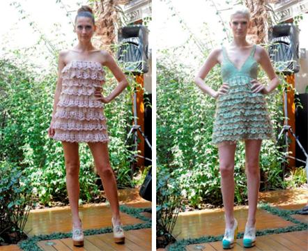 Вязаные крючком авторские платья с рюшами
