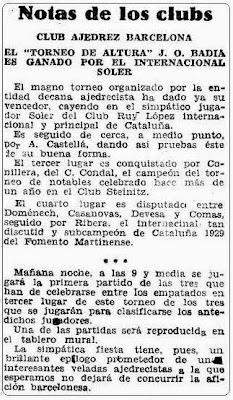 Recorte de Mundo Deportivo sobre el Torneo de Ajedrez de Altura José O. Badía 1929