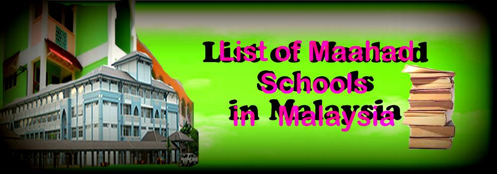 List of Maahad Schools in Malaysia