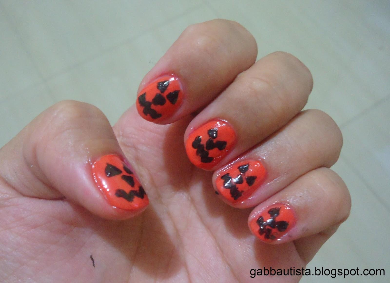 confessions of gab bautista: halloween nail art design 1: pumpkin