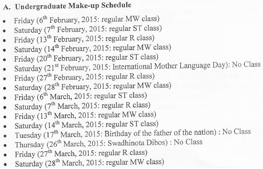 Szm's blog!: Make-up Class Schedule: New NSU Official Directives!