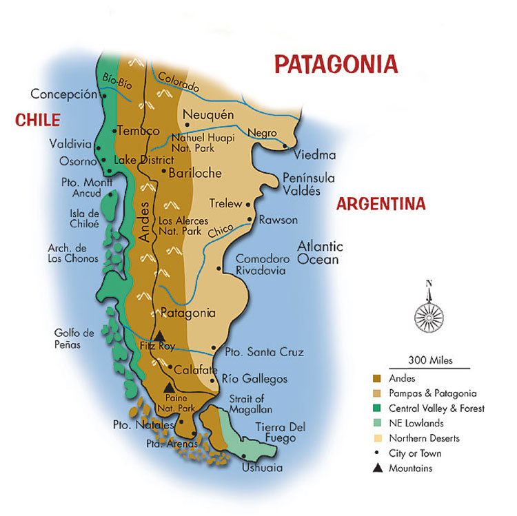 Learning about our world deserts map the patagonia desert is east of the andes mountains in south america gumiabroncs Image collections