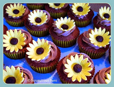 chocolate cupcakes with sunflowers