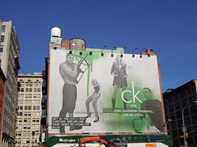 Giant CK One Box billboard NYC