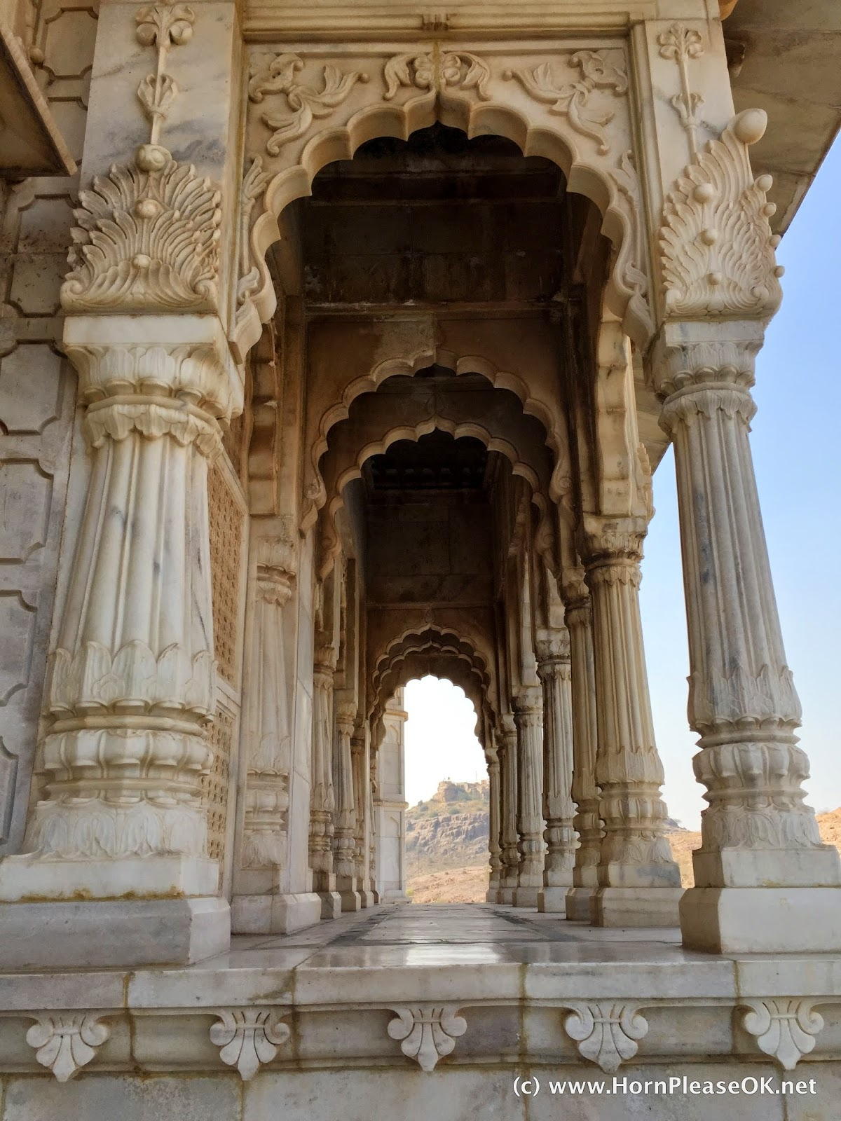 White marble carved into lotuses and the tree of life at Jaswant Thada