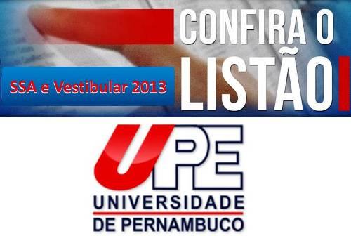 Divulgado listão do Vestibular da UPE 2013