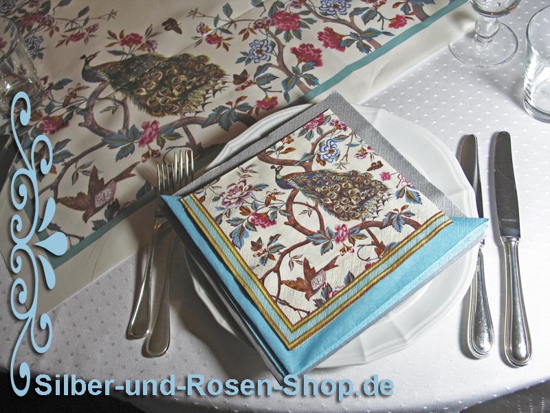 Tischdeko in Türkis, bestellbar bei Silber-und-Rosen-Shop.de