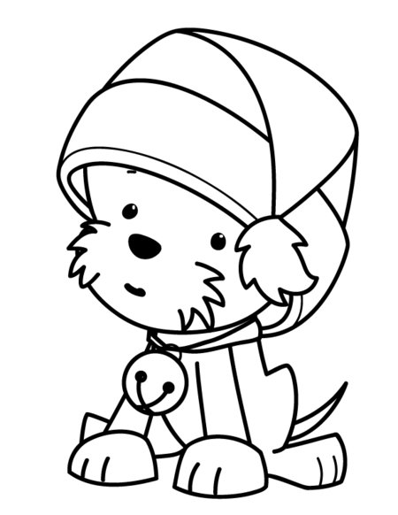 Christmas Puppies Coloring Pages for Kids title=