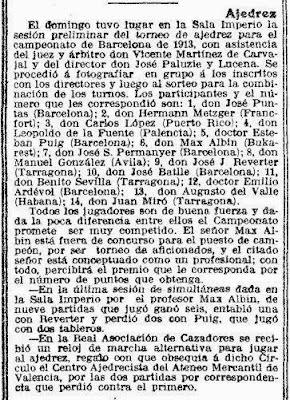Recorte de prensa en la Vanguardia sobre Max Adolf Albin, 30 de octubre de 1912