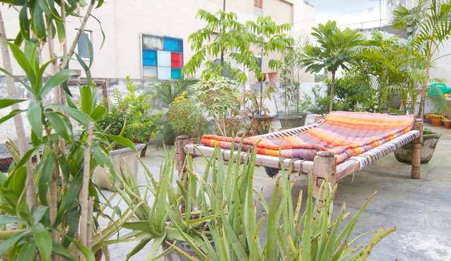 terrace, charpoy