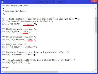 <img alt='cara melakukan koneksi database wordpress dengan mengedit wp_config_sample.php' src='http://1.bp.blogspot.com/-Pg2Ao3q71o4/UYKYwlK1gkI/AAAAAAAAGkI/vBYKgeRz_uI/s1600/setting+wp+config.jpg'/>