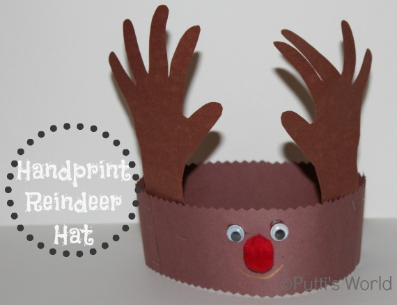 Handprint Reindeer Hat Crown Christmas Kids craft