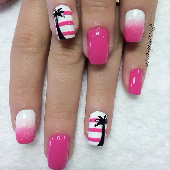 awesome tropical nail art design