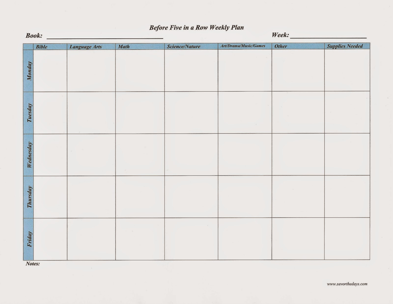 Before Five in a Row Weekly Plan