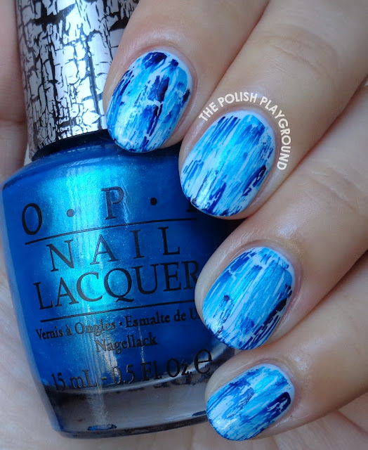 Turquoise and Navy Distressed Shatter Nail Art