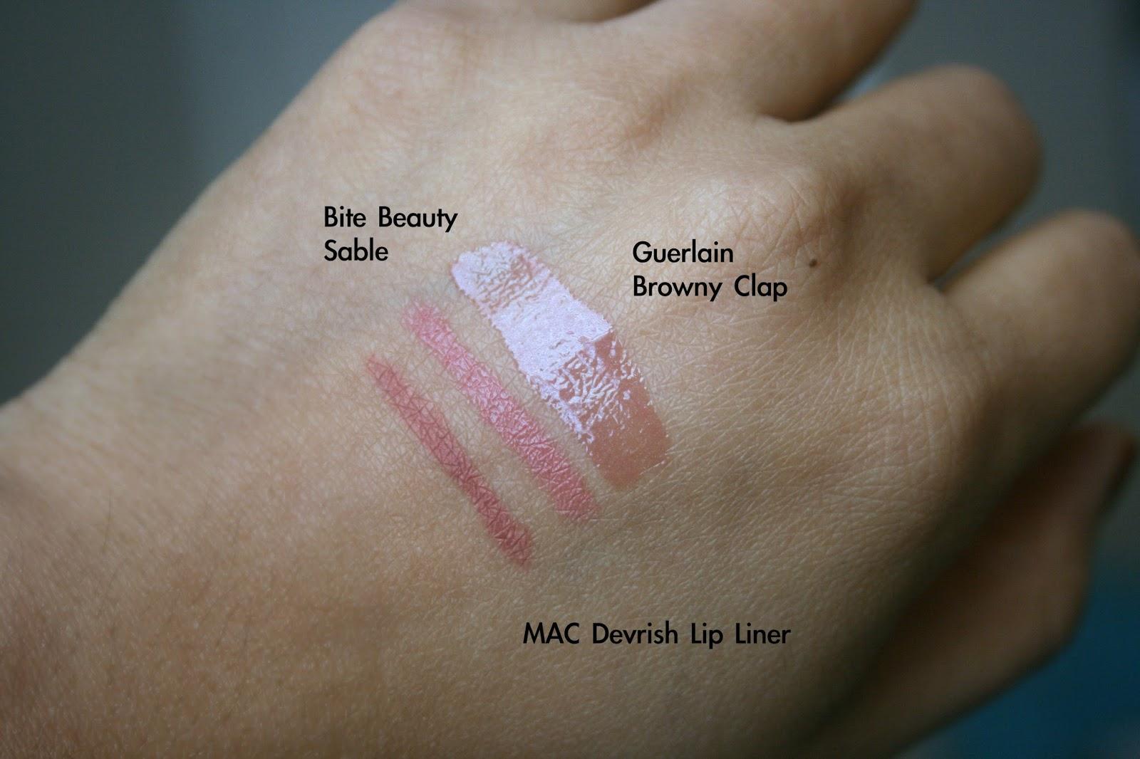 Nude Lips for Medium Dark Skintones - MAC Dervish Lip Liner, Bite Beauty Sable, Guerlain Maxi Shine Lip Gloss in Browny Clap  Swatches